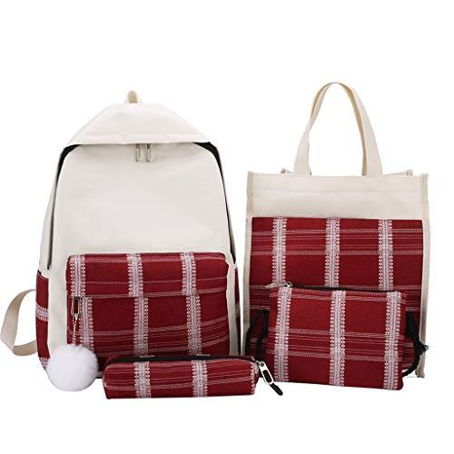 - 4Pcs Women Bags Womens Satchels Plaid Canvas Hand Bag Shoulder Bag Ladies Cosmetic Bag Pencil Case Package