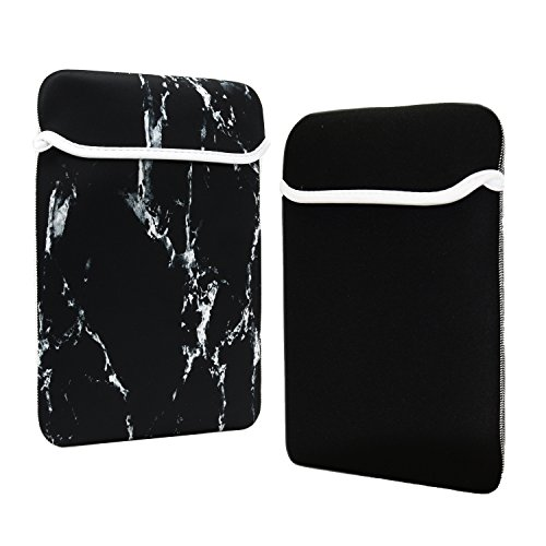 TOP CASE - Marble Pattern Reversible Sleeve Bag Cover Compatible with Most 12 inch Laptop/MacBook 12 Retina Notebook with TOP CASE Mouse Pad - Black