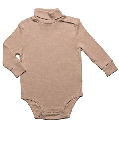 Leveret Solid Turtleneck Bodysuit 100% Cotton (24 Months, Beige) -