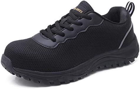 スチールトゥシューズ メンズ 安全作業スニーカー 反射ストリップ 工業&建設靴