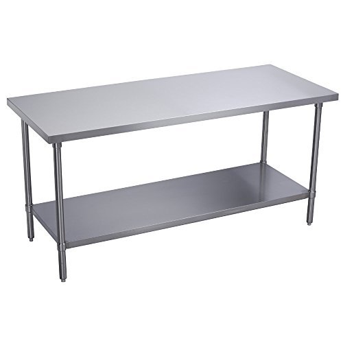 GSW Commercial Flat Top Work Table with Stainless Steel Top, 1 Galvanized Undershelf & Adjustable Bullet Feet, 24''W x 30''L x 35''H, NSF Approved by GSW