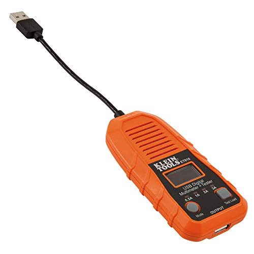 Klein Tools ET910 USB Power Meter and Tester, USB-A Digital Meter for Voltage, Current, Capacity, Energy, Resistance, Max Current ()