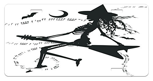 Ambesonne Music License Plate, Witch Flying on Electric Guitar Notes Bat Halloween Illustration, High Gloss Aluminum Novelty Plate, 5.88