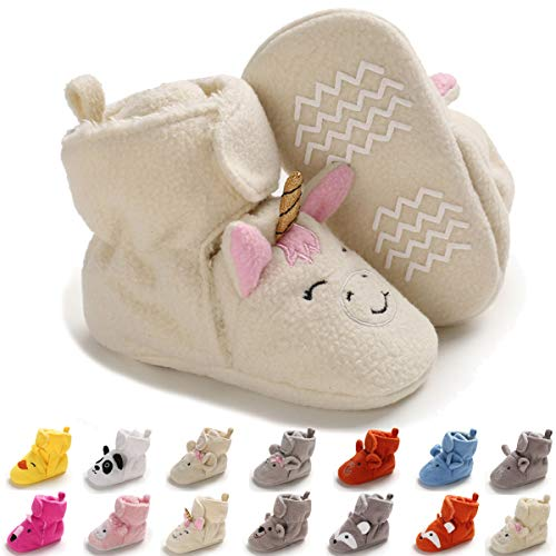 Baby Booties Newborn Girl Boy Unisex Velvet Rubber Non-Slip Sole Shoes Toddler Infant Fleece Cozy Winter Warm Prewalker Boots