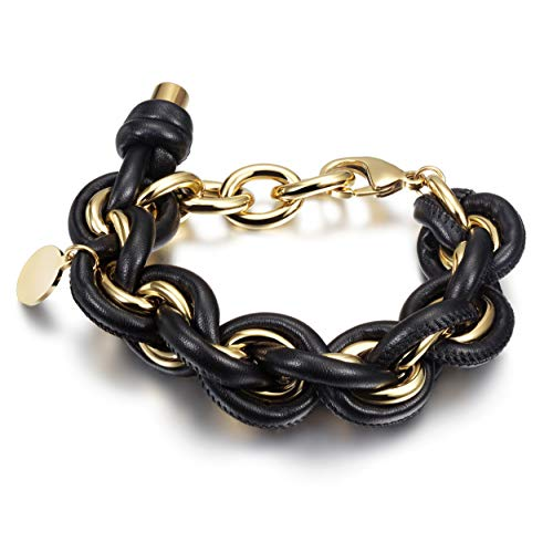 (JINBAOYING Link Chain Bracelet Women Girls Wide Chunky Cuban Curb Link Bracelet Gold Plated Stainless Steel Chain Link with Round Disc Charm)