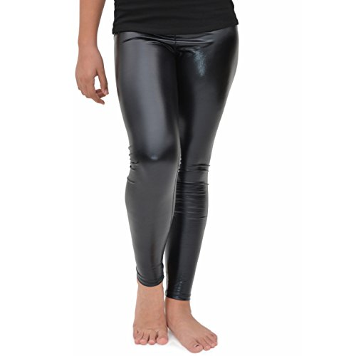 Stretch is Comfort Girl's Cotton Footless Leggings Metallic Black X