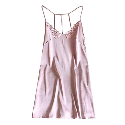 Hot!Fitfulvan Womens Sexy Nightdress Lingerie Pajamas Sexy Sling Pajamas Fashion Solid Color Halter Strap Nightdress Pink - Raised Leather Halter