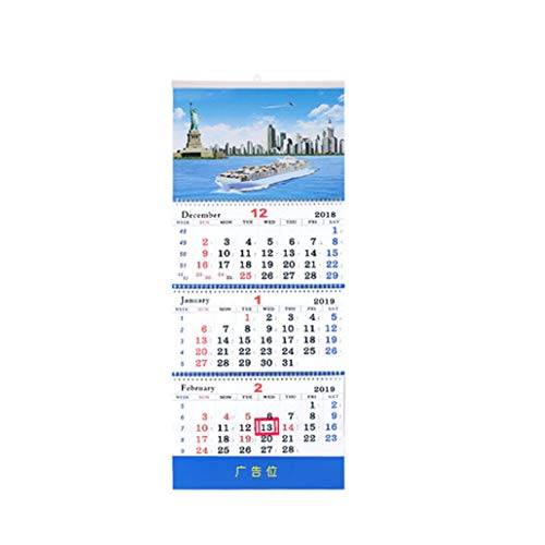 - Whthteey Deluxe 3 Sides Display Monthly Wall Calendar 12 Academic Schedules Monthly Planner (Statue of Liberty)