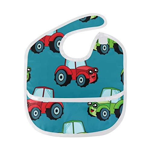 Toy Cars Baby Bibs Waterproof, Washable, Stain and Odor Resistant for Boys Girls