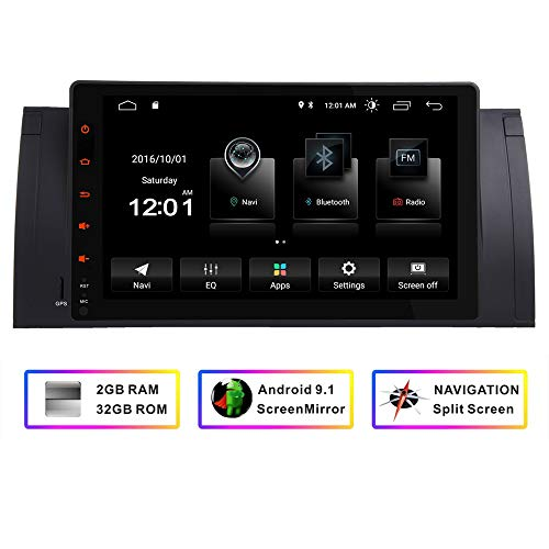 Car Stereo GPS Navigator for BMW E39 X5 E53,9 Inch HD Touchscreen FM Radio Android Quad-Core System Bluetooth Mirror Link WiFi 4G 1080P 32GB ROM (Best App To Listen To Music Offline On Iphone)