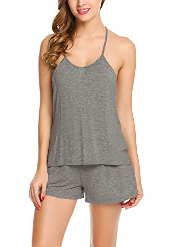 Avidlove Women's Halter Pajama Shorts Set Cotton Sexy Tank Pants Two Pieces, Gray, Small