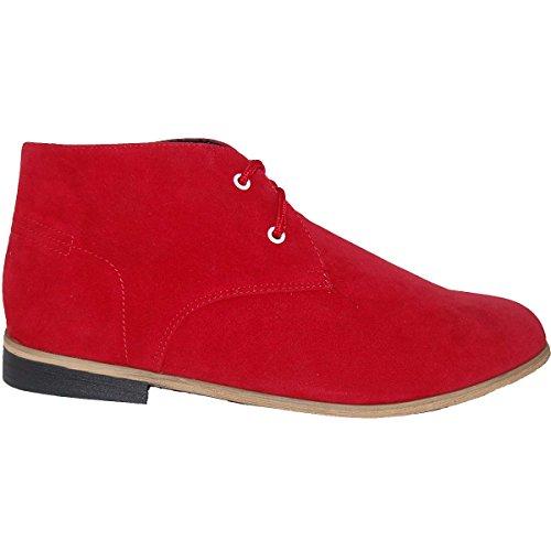Skoen Artistene Mine Rød Semsket Utseende Ørken Støvler