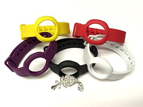 BSI Set 1pc Onyx / Black 1pc White 1pc Yellow 1pc Red and 1pc Purple Colors Replacement Straps for Jawbone UP Move Only /No tracker/ Wireless Activity Bracelet Sport Wristband Bracelet Sport Arm Band Armband + Nice Crystals Feather Brooch -