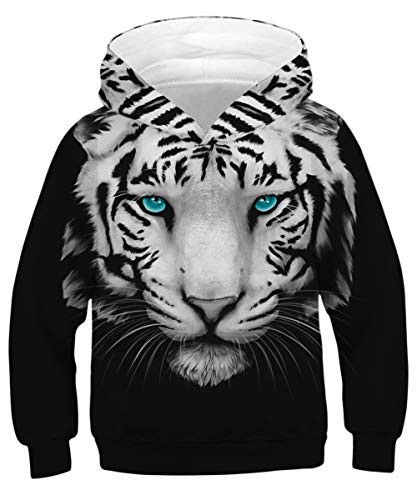GLUDEAR Youth Girls Boys 3D Galaxy Printed Pockets Sweatshirts Jacket Pullover Hoodies,Tiger,11-13 - Print Tiger Jacket