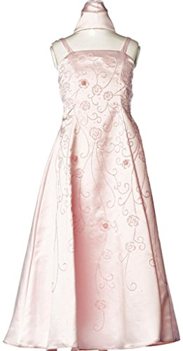 Embroidered Bodice A-line Satin - 8
