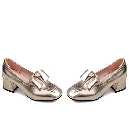 VogueZone009 Damen Quadratisch Zehe Ziehen auf PU Leder Rein Mittler Absatz Pumps Schuhe Golden