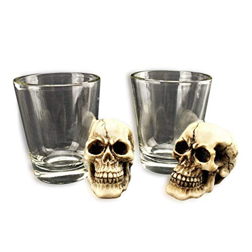 [ Set of 2] Unique Skull Shot Glass Skull Head Cup Spooky Pirate Shot for Wine Vodka Whiskey Cocktail, Party Bar Cup Ideal for Wine, Vodka, Whiskey, Cocktail (G16638) ~ -