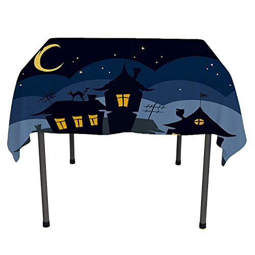 Halloween, Table ClothsOld Town with Cat on The Roof Night Sky Moon and Stars Houses Cartoon Art, for Kitchen Dining Party, 70x70 Inch Black Yellow Blue]()