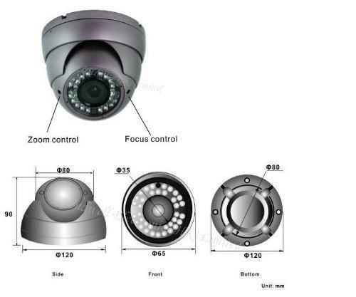 BW® 700TVL 1/3'' Sony CCD 2.0 Mega Varifocal Zoom CCTV Surveillance Camera with OSD Menu Night Vision Infrared to 180 Feet by BW (Image #2)
