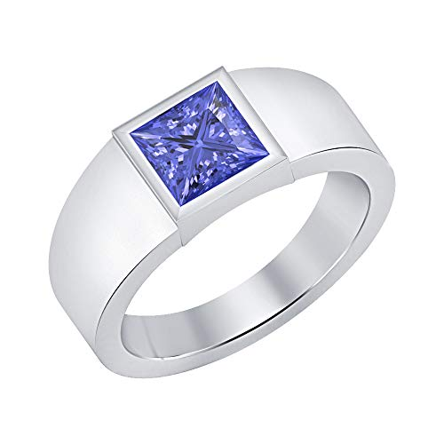 (SVC-JEWELS Princess Cut Tanzanite 18K White Gold Over .925 Sterling Silver Solitaire Wedding Ring for Men's)