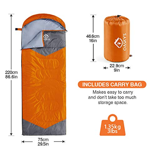oaskys Camping Sleeping Bag - 3 Season Warm & Cool Weather - Summer, Spring, Fall, Lightweight, Wate - http://coolthings.us