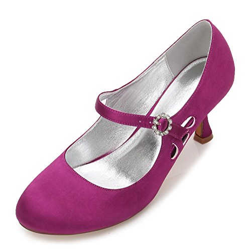 High Satin Evening Party Shoes Head Heels Purple Close Toes Round Low YC L Women F17061 The 45 Wedding Pumps BqApftOw