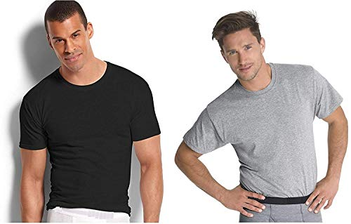 Fruit of the Loom Men's Stay Tucked Crew T-Shirt, (XXX-Large, Black/Grey) (Pack of - Loom Color Crew