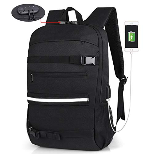 Skateboard Backpack Anti Theft Laptop Backpack with USB Charging Port Fits 15.6 Inch MacBook Black