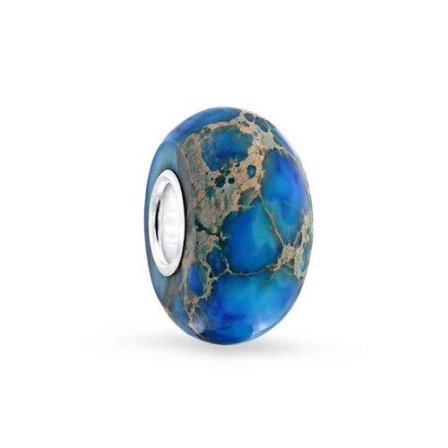 Bling Jewelry 925 Sterling Silver Gemstone Blue Impression Simulated Jasper Bead - Blue Jasper