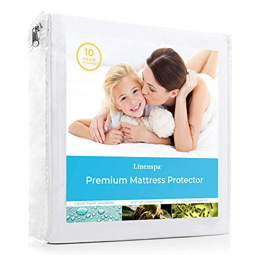 LINENSPA Premium Smooth Fabric Mattress Protector-100% Waterproof-Hypoallergenic-Vinyl Free Protector, Queen, White