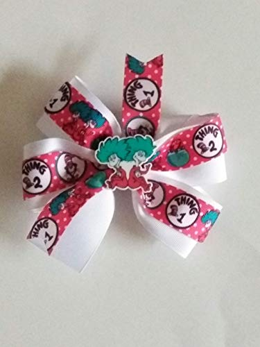 Dr Seuss Day inspired hair bow, Thing 1 Thing 2, Cat in the Hat, red white and blue bow, baby hair bow, story book hair bow ()