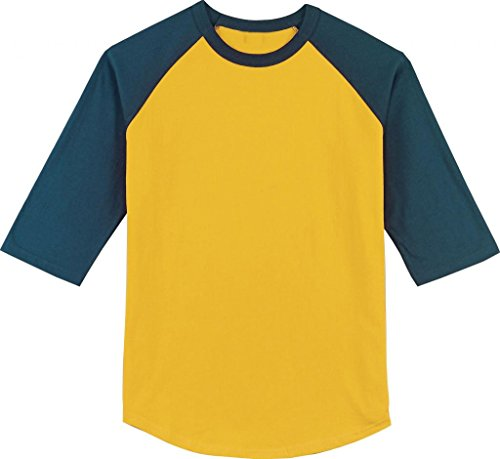 Authentic Pigment 6 oz. Pigment-Dyed 3/4-Sleeve Baseball Jersey old school look (Authentic Blue Baseball Jersey)
