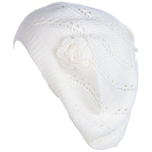 BYOS Chic Parisian Style Lightweight Crochet Beret Beanie Hat W/Flower Adornment,More Styles (Swirl White)