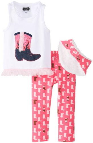 Mud Pie Girls' Baby-Newborn Cowgirl Boot Tunic and Legging, Pink, 6-9 Months ()