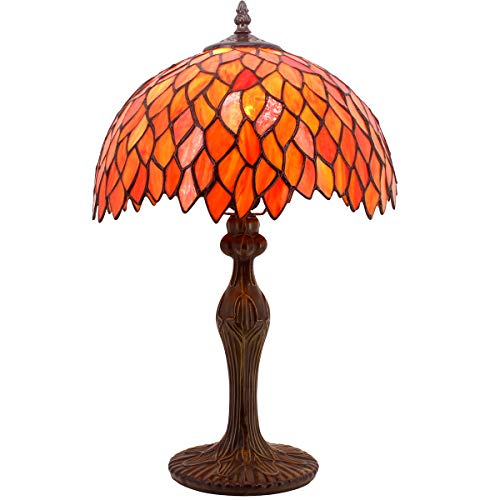 - Tiffany Lamp Red Wisteria Style Table Desk Lamp Light 18 Inch Tall Antique Beside Desk Reading Sets for Lover Living Room Bedroom Kids Room Coffee Table Bookcase S523R WERFACTORY