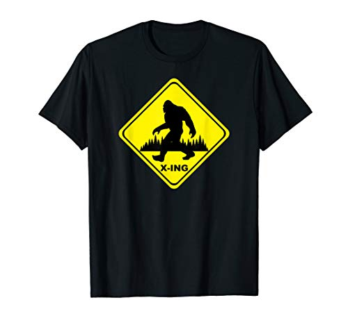 Bigfoot Sasquatch Yeti Crossing Caution Warning Sign T-Shirt