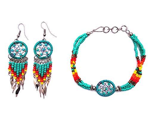 Mia Jewel Shop Handmade Native American Style Tribal Dream Catcher Seed Bead Multi Strand Bracelet Dream Catcher Long Beaded Dangle Earrings Jewelry Set (Mint)
