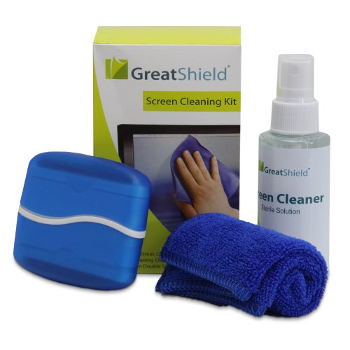 GreatShield LCD Touch Screen Cleaning Kit with Microfiber Cloth, Brush, Cleaner Wipes Spray Solution for Laptops, PC monitors, Smartphones, Tablets, iPhone, iPad, LED, TVs, DSLR Cameras, - Touch Cleaning Screen