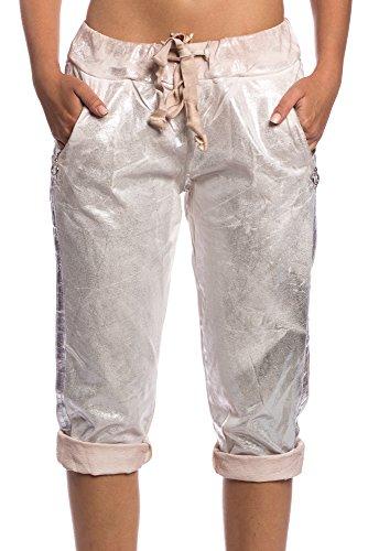 Abbino 1515 Corto Pantalone con Banda Iridiscente para Mujer - Hecho en ITALIA - 5 Colores - Entretiempo Transición Primavera Verano Otoño Rebajas Moderno Casual Dulce Flexible Joven Delicado Rosa