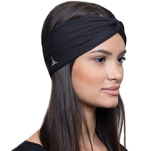 Moisture Wicking Turban Headband for Sports, Running, Workout and Yoga, Insulates and Absorbs Sweat, Women Hair Band by French Fitness - Sunglasses Workout