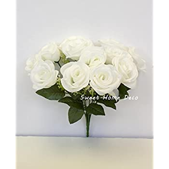 Sweet Home Deco 14'' One Dozen Sweet Roses Silk Artificial Bouquet (12 Stem/12 Flower Heads)(valentine's Day/wedding/home Decorations) (White)