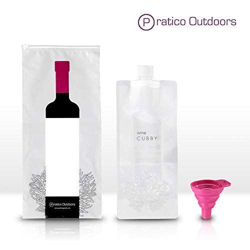 WineCubby Wine Flask - Reusable Foldable Wine Bag Set - Includes Wine Bottle Carrying Case & Collapsible Funnel