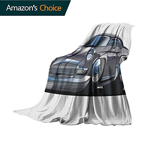 Cars Mother Blanket,Retro Inspired Car Design with Asymmetric Tires Fast Car Speeding Cool Logo Microfiber All Season Blanket for Bed or Couch Multicolor,30