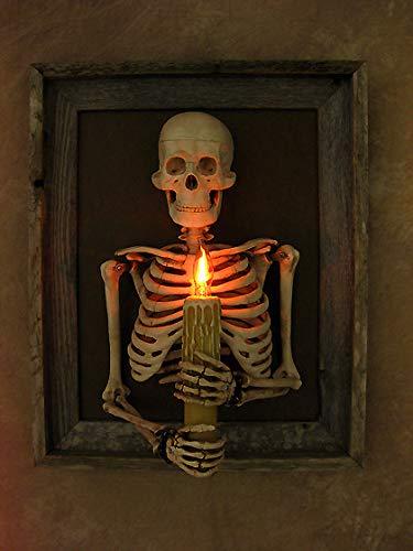 Framed 3D Skeleton Torso Holding Candle -