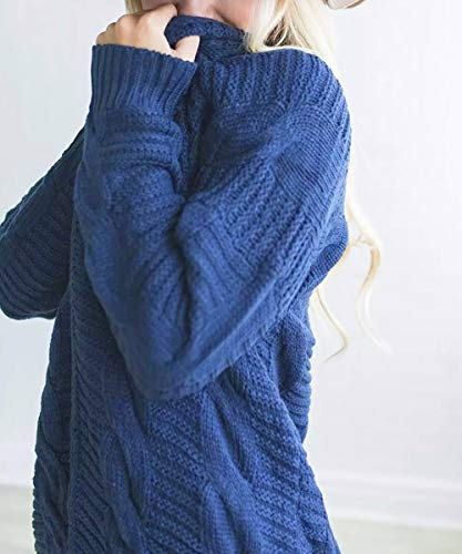 Knit Swearter Blue Casual Womens Long Sleeve Sleeve Knit Cardigan Boyfriend Cardigan Ladies Long Knitwear Front Outwear Coat Jacket DIKEWANG Lady Top Open q0S7w