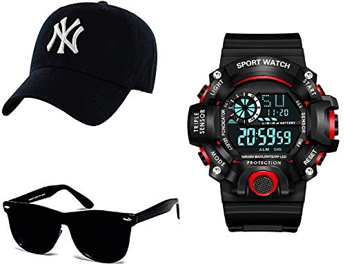 SELLORIA Boy's Combo Pack of Black Dial Digital Watch with Black Sunglass with baseball Cap Black
