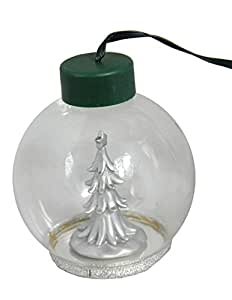 """4"""" LED Lighted Glass Globe Silver Plated Holiday Tree Christmas Ball Ornament"""