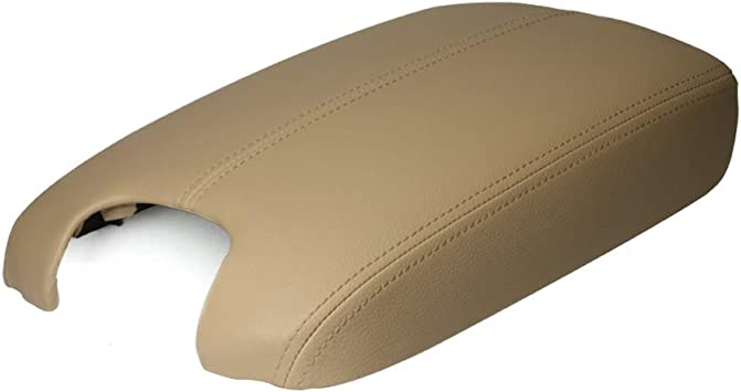 Compatible with 2012 2011 2010 2009 2008 Honda Accord Center Console Lid Cover Beige Synthetic Leather Auto Armrest Cover with Base Replacement for Honda Accord 2008-2012 Vinyl and Plastic Plate