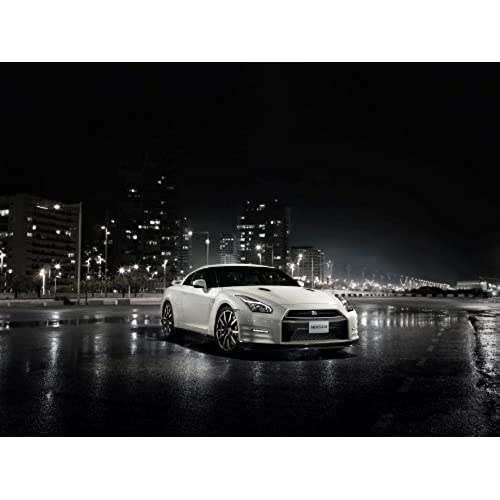 Nissan GT R R35 (2014) Car Art Poster Print On 10 Mil Archival Satin Paper  White Front Side Night Static View 24