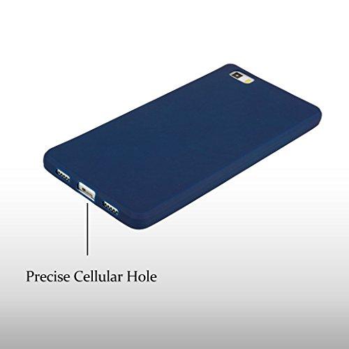 Funda Silicona para Huawei P8 LITE 2017, AllDo Carcasa Protectora Suave Funda Flexible Ligero Soft TPU Gel Case Cover Carcasa Ultra Delgado Caja de Diseño Simple Funda Color Sólido Carcasa Anti Rasguñ Azul